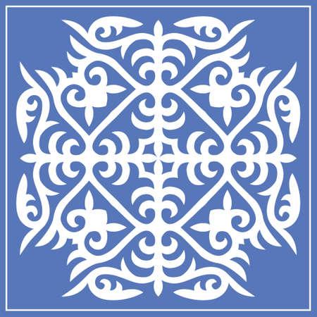 Decorative square Pattern, workpiece for your design. Ornamental elements and motifs of Kazakh, Kyrgyz, Uzbek, national Asian decor for tile, pilow, textile and print design. Vector.