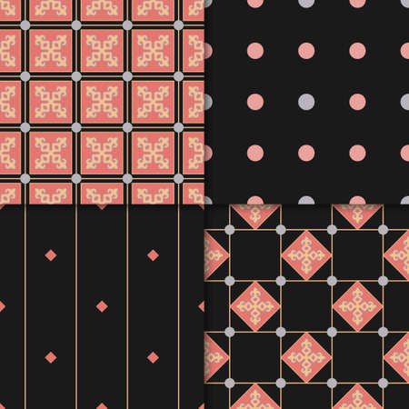 Set of 4 Decorative Seamless Pattern for Home Textile. Abstract Texture Designs can be used for Backgrounds, Motifs, Textile, Wallpapers, Fabrics, Templates. Design Paper For Scrapbook. Vector. Stock fotó - 157589396