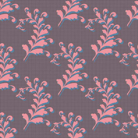 Seamless Floral Pattern with decorative branches and leaves for Design Wallpaper, Fashion Print, Trendy Decor, Home Textile, Retro Decor. Vector Illustration.