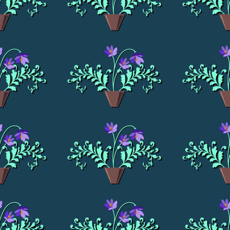 Seamless Floral Pattern with decorative branches and flowers for Design Wallpaper, Fashion Print, Trendy Decor, Home Textile, Retro Decor. Vector Illustration.