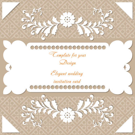 Design wedding invitation card. Vintage frame with ornamental border pattern, and place for text. Template for your design with decorative white branches for packing box, banner, flyer and print. Stock fotó - 158038967