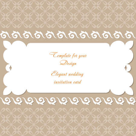 Design wedding invitation card. Vintage frame with ornamental border pattern, and place for text. Template for your design with decorative white branches for packing box, banner, flyer and print.