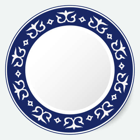 Round Frame, workpiece for your design. Ornamental elements and motifs of Kazakh, Kyrgyz, Uzbek, national Asian decor for plate, textile and print design. Circle frame. Vector.