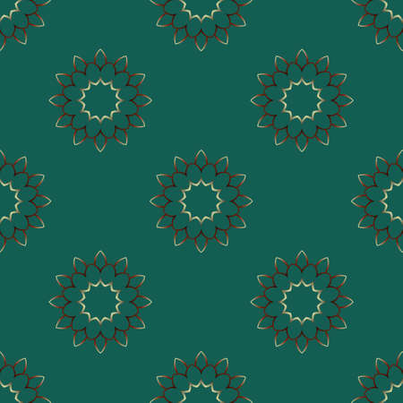 Decorative seamless pattern with beautiful flowers texture designs on green backgrounds for home textile, wallpapers, fabrics, gift wrapping, templates, scrapbook. Vector.