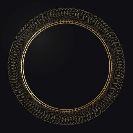 Luxury frame of gold color on a black background. Ornamental frame for cafe, restaurant, shop, print, stamp, elegant card, wedding invitations; Isolated element. Vector Illusztráció