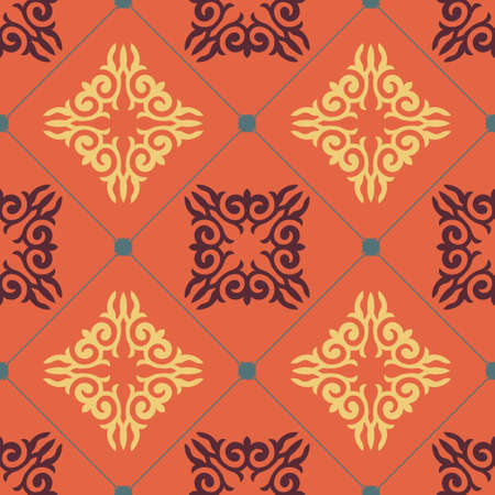Decorative Asian Folk Seamless Pattern. Ornament of Asian Nomads: Kyrgyz, Kazakhs, Bashkirs, Tatars, Yakut, Mongols. Ethnic Vector Illustration for Paper Products, Textiles.