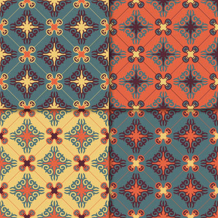 Set of 4 Decorative Asian Folk Seamless Pattern. Ornament of Asian Nomads: Kyrgyz, Kazakhs, Bashkirs, Tatars, Yakut, Mongols. Ethnic Vector Illustration for Paper Products, Textiles. Illusztráció