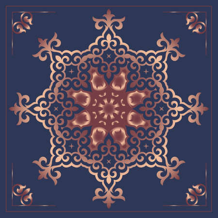 Luxury template for your design with ornamental elements and motifs of Kazakh, Kyrgyz. Mandala. Oriental Pattern.