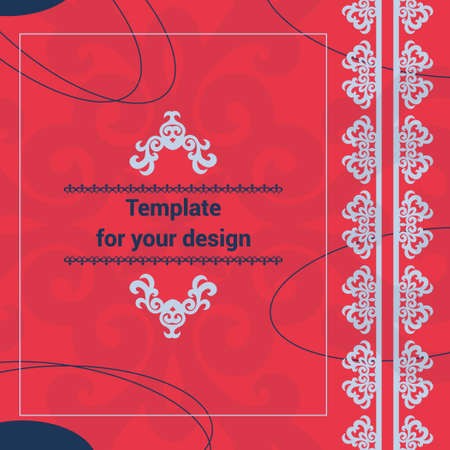 Template for your design with ornamental elements and motifs of nomads style, national Asian decor for packing, cover, banner, flyer and print design. Workpiece for your design.