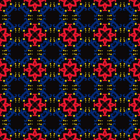 Classic Pattern Ornament, Colored Seamless Geometric Pattern on black background for Design Wallpaper, Fashion Print, Trendy Decor, Home Textile, Retro Decor. Vector. Illusztráció