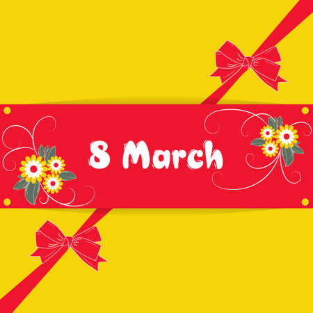 Banner, flyer, beautiful postcard for March 8 on a yellow background with red decorative bows. International Women's Day. Flyer for March 8 with the decor of flowers. Vector illustration.