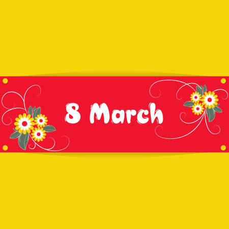 Banner, flyer, beautiful postcard for March 8 on a yellow background. International Women's Day. Flyer for March 8 with the decor of flowers. Vector illustration.