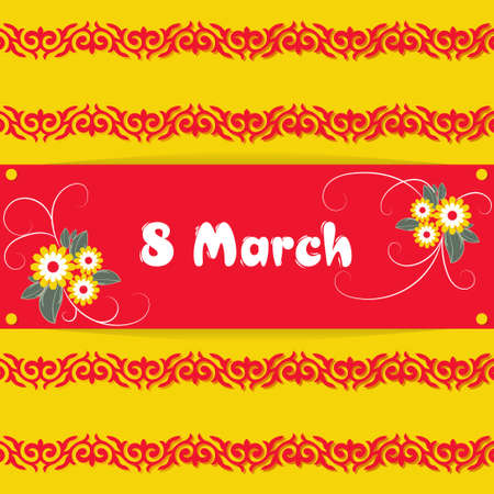 Banner, flyer, beautiful postcard for March 8 on a yellow background with Kyrgyz and Kazakh, Uzbek ornaments. International Women's Day. Flyer with the decor of flowers and ethnic element. Vector.