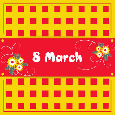 Banner, flyer, beautiful postcard for March 8 on a yellow background and red squares. International Women's Day. Flyer for March 8 with the decor of flowers. Vector illustration.