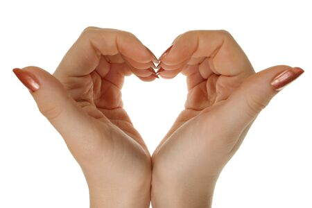 Two hands form a heart shape, isolated
