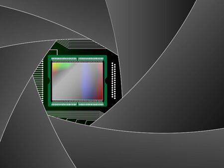 Matrix of the digital camera through the diaphragm Stock Vector - 9389230