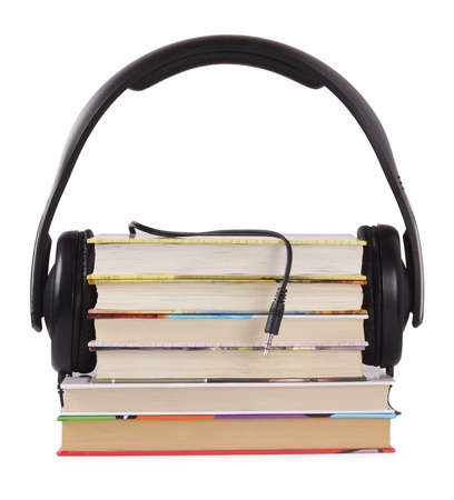 Headphones are ready to listen books, you need only connect Stock Photo - 9389243