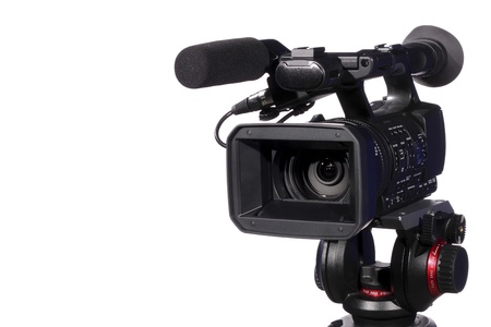 professional camcorder, isolated over white Stock Photo - 9389241