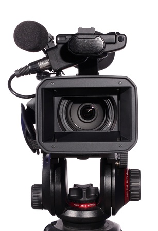 video camera: professional camcorder, isolated over white