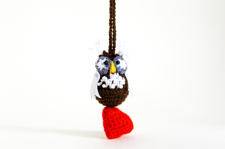 Knitted owl as a gift Valentines Day
