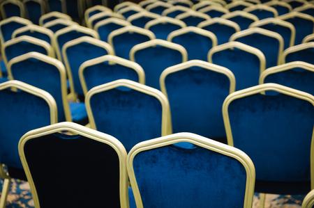 Empty cinema or theater auditorium, chairs befor meeting Standard-Bild - 121820788