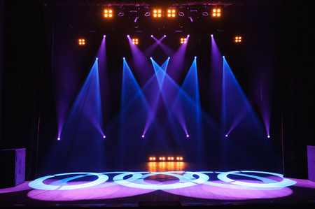 Free stage with lights, lighting devices. Background