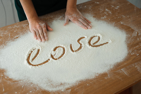 Chef preparing dough - cooking process, work with flour. Reklamní fotografie