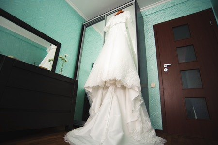 Bride wedding details - beautiful white wedding dress