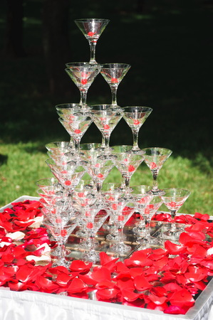 Pyramid of champagne on white table with rose petals. Фото со стока