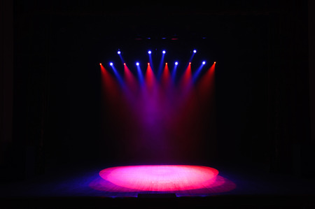 Free stage with lights, lighting devices. Background. 免版税图像