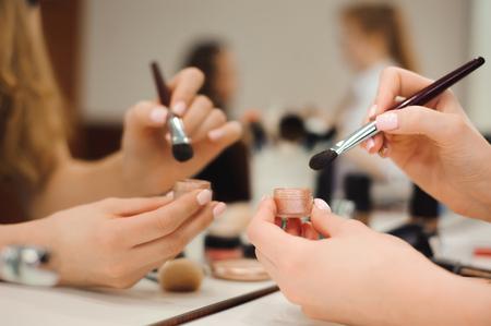Workplace makeup artist. set of brushes for makeup. Reklamní fotografie