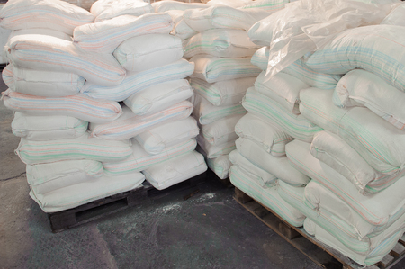 Pile of bags in production in stock or production.