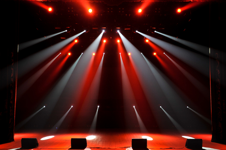Free stage with lights, lighting devices. Night show. Stock fotó