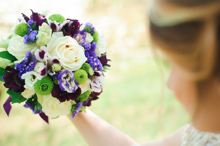 Wedding bouquet, bouqet of beautiful flowers on wedding day