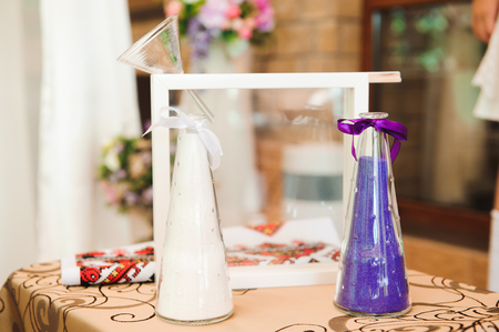 Wedding ceremony outdoors. Wedding ceremony decoration, beautiful wedding decor Imagens