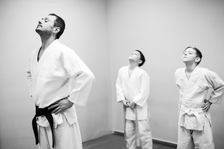 Children in kimono begin training on aikido Reklamní fotografie