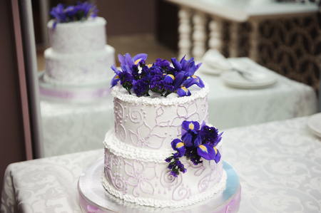 Wedding cake. Delicious sweet holiday buffet with desserts.