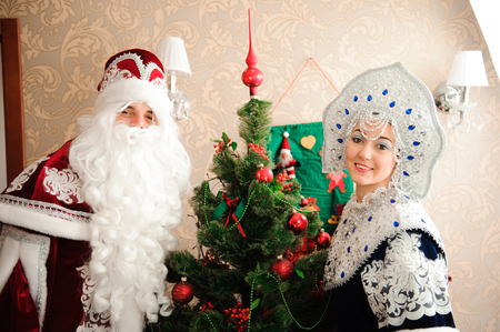 Russian Christmas characters: Ded Moroz, Father Frost and Snegurochka, Snow Maiden Stockfoto