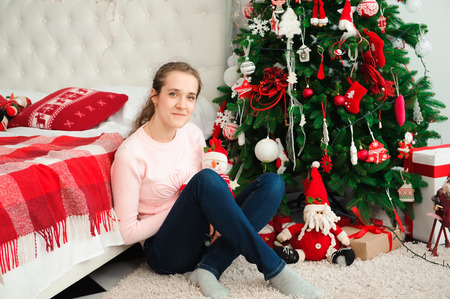 Wish you a Merry Christmas. Girl with a Christmas presents. Happy feeling to New Year. Christmas party Stock Photo - 122249647