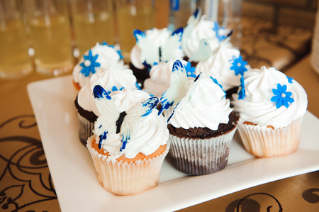 Wedding banquet cakes in a restaurant, Colorful chocolate cupcakes on the table party
