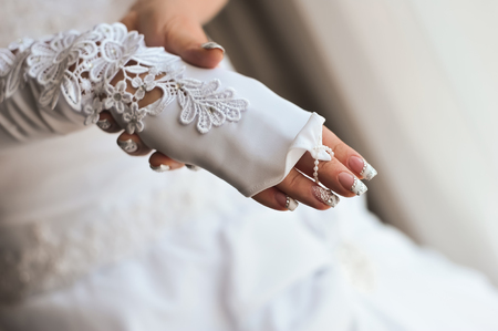 Bride wedding details - wedding white dress for a wife