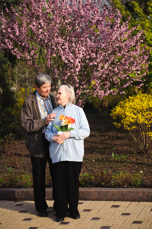 Beautiful happy old people sitting in the autumn park. Imagens