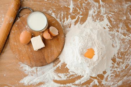 Chef preparing dough - cooking process, work with flour Reklamní fotografie