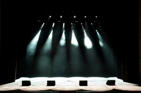 Free stage with lights, light with colored spotlights and smoke. Reklamní fotografie - 122382363