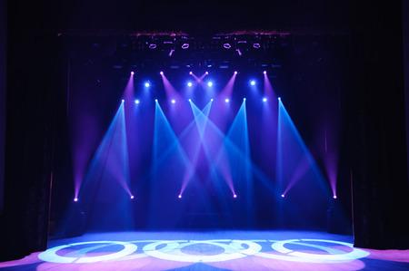 Free stage with lights, background of empty stage, spotlight, neon light, smoke. Stok Fotoğraf - 122382644