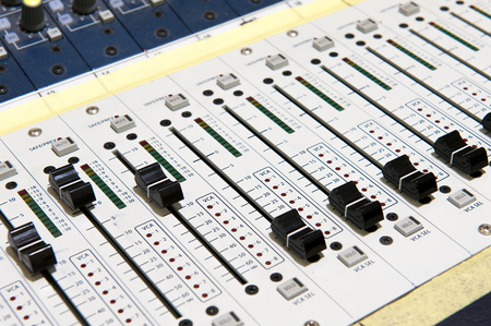Buttons equipment for sound mixer control, sound equipment. Stock Photo