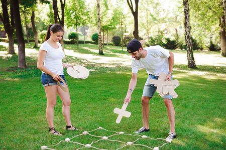 Tic tac toe game. Game on green grass Standard-Bild - 122563421