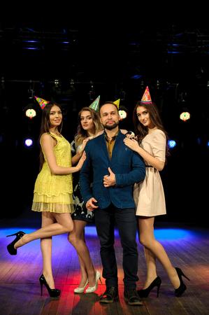 cheerful young company celebrates birthday in a nightclub Reklamní fotografie - 122653731