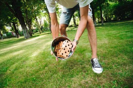 Outdoor games - Big dices on the green grass Standard-Bild - 122657653