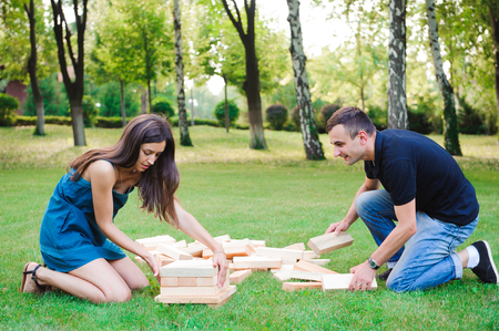 Giant Outdoor Block Game. Group game of physical skill with big blocks.